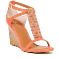 Seychelles Slam T-Strap Wedge Sandal ($65) ❤ liked on Polyvore featuring shoes, sandals, orange, wedges shoes, strappy wedge sandals, leather wedge sandals, open toe wedge sandals and braided sandals