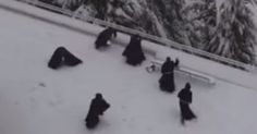What These Monks Did After A Heavy Snow At The Monastery Will Make You LOL