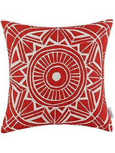 Euphoria CaliTime Cushion Cover Throw Pillow Shell Compass Geometric 18 X 18 Inches Red ❤ Qingdao Ray Trading Co., Ltd.
