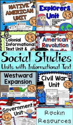 These Social Studies units on American History are so easy to use! They are filled with informational text, activities, crafts, reading comprehension skills, writing, projects, study guides, tests, and more!! NO PREP- No need for text book and tons of creative lessons and ideas!  Native Americans, Explorers, Colonies, Revolutionary War, Westward Expansion, Government, Civil War.