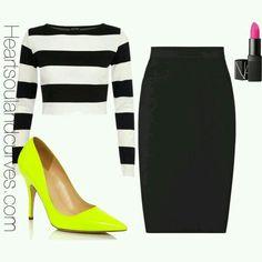 Outfit con tacones amarillo neon