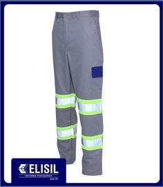 Calça Profissional cós inteiro com bolso cargo nas perna com tampa, e faixa refletivas