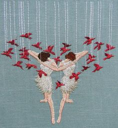 "Life will divide us | 8"" hand embroidery on linen 
