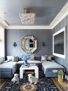 A blue velvet couch can make a room | A peak into Michael S. Smith's clients' homes.