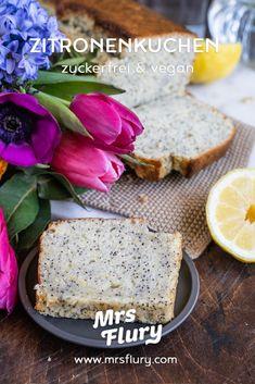 Veganer Zitronenkuchen ohne Zucker - Mrs Flury - gesunde Rezepte Diy Food, Banana Bread, Food And Drink, Fitness, Vegan Cake, Vegan Baking, Sugar Free Baking, Sugar Free Recipes, Just Bake