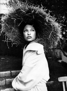 Linda Evangelista wearing Lanvin robe and Christian Lacroix straw hat shot by Karl Lagerfeld for Vogue Paris 1993