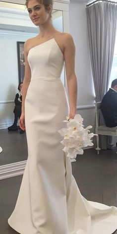 Prom Dress Fitted, Sheath Strapless Sweep Train Ivory Elastic Satin Wedding Dress There are delicate lace prom dresses with sleeves, dazzling sequin ball gowns, and opulently beaded mermaid dresses. Wedding Dress Train, Wedding Dresses 2018, Perfect Wedding Dress, Cheap Wedding Dress, Bridal Dresses, 2017 Wedding, Summer Wedding, Backless Wedding, Lace Wedding