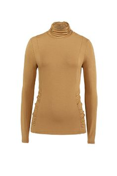 MACADAMIA vicuna stretch rayon jersey top with ruched turtleneck and shirred waist.