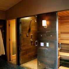 modern bathroom Ballard Pool House Sauna in Master Suite Sauna Design, Home Gym Design, House Design, Bath Design, Tile Design, Sauna Steam Room, Sauna Room, Steam Bath, Steam Spa