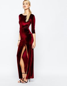 Boohoo+Velvet+Maxi+Dress+With+Thigh+Split