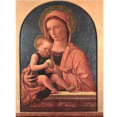 Madonna and Child. Bellini. 1460-1464. Painting. Tempera on panel. 78 x 54 cm. Civiche Raccolte d'Arte. Castello Sforzesco. Milan.