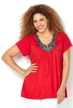 Geo Embroidered Top-Plus Size Top-Avenue Plus Size Tops, Plus Size Women, Red Fashion, Fashion Outfits, Stylish Outfits, Plus Size Outfits, Plus Size Fashion, Latest Trends, Geo