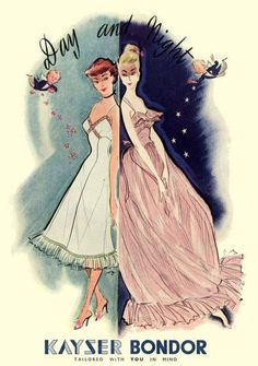 1950s Kayser Bondor #vintage #lingerie #ad with day & night theme cute redhead slip & blonde in pink nightgown - what are intimates, where to get cute lingerie, teddy lingerie *sponsored https://www.pinterest.com/lingerie_yes/ https://www.pinterest.com/explore/lingerie/ https://www.pinterest.com/lingerie_yes/wedding-lingerie/ http://www.lingeriediva.com/