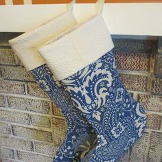 Blue Christmas Stockings Set Of Two by bungalowquilts on Etsy, $55.00