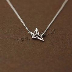 plata de ley 925 collar, con 1.5lnch extender cadena, Mil grullas de Origami, cadena oval & hueco, 16x15mm, longitud:aproximado 14.5 Inch, 10Strandsfilamento/Grupo, Vendido por Grupo,Abalorios de joyería por mayor de China