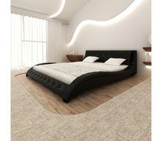 Sort Kunstlæder Wave Senge med viskoelastisk skum madras 200 x 180 cm