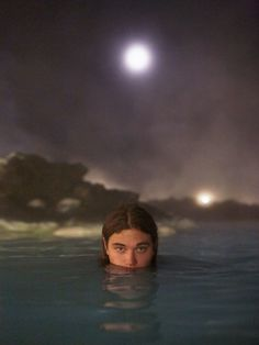 ~ A Moonlit Swim in the Blue Lagoon in the Grindavik lava field! So Beautiful! * * * michael bailey gates and thomas whiteside take a loved-up trip to iceland | look | i-D