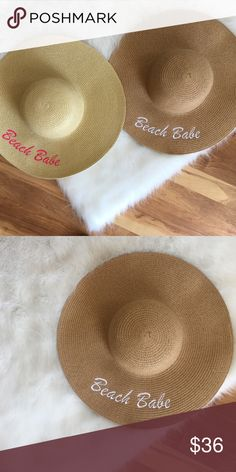 Beach Babe beach hat Beach Babe beach hat in tan with the pink embroidered writing Accessories Hats