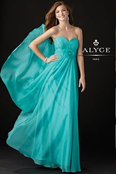 Pool Blue Strapless Maxi Style Gown with a Sweetheart Neckline - Prom Dresses - Alyce B'Dazzle 35418 - RissyRoos.com