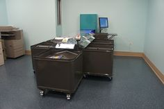 D-Tech returnIT system with five bins at Matteson Library.
