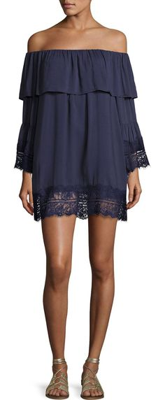 """Midnight Oasis Lace Off-the-Shoulder Long-Sleeve Mini Dress by Suboo. Suboo """"Midnight Oasis"""" mini dress featuring scalloped lace at cuffs and hem. Elasticized off-the-shoulder neckline wi..."""