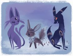 Espeon, Umbreon, and Eevee at Christmas!