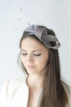 Beaded hat feathers fascinator by BeChicAccessories - - Facinator Hats, Sinamay Hats, Headpieces, Fascinators, Fancy Hats, Wedding Hats, Diy Hair Accessories, Derby Hats, Bandeau