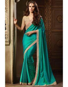Peacock Green Saree with #Designer #Blouse