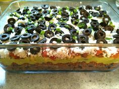 Too Hot to Cook! Vegan Gluten Free 7 + Layer Dip for Potluck, Cookout, or Dinner at Home. Easily made Raw by removing bean and olive layers.