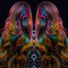 My hair artist is a rockstar! Hair Dye Colors, Ombre Hair Color, Hair Colour, Colour Colour, Slick Hairstyles, Pretty Hairstyles, Rainbow Hair Highlights, Locks, Dying Your Hair