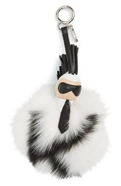 Fendi 'Pompom Karl' Genuine Fox Fur & Leather Bag Charm available at New Handbags, Purses And Handbags, Handbag Accessories, Fashion Accessories, Fendi Bag Bugs, Popular Purses, How To Make Purses, Fox Fur, Leather Bag