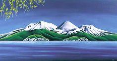 Kowhai Lake Taupo by Diana Adams for Sale - New Zealand Art Prints New Zealand Mountains, New Zealand Landscape, New Zealand Art, Nz Art, Wall Art For Sale, Popular Art, Naive Art, Landscape Paintings, Landscape Art
