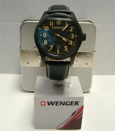 New wenger swiss terragraph watch black dial leather strap 0541.105 msrp   250 03313ea918