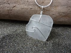 $32.00 Beach Glass Necklace Wave Wire Wrapped Pendant by nwsurfcottage