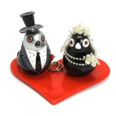 Wedding Cake Topper Silver and Black with Red Heart Base Set B00015