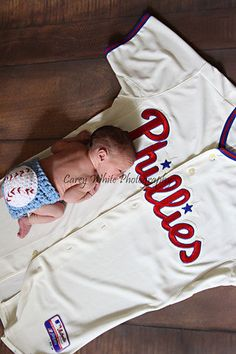 Baby Boy Baseball Diaper cover Newborn by LandyKnits on Etsy, $22.00 - but with a Braves jersey of course!
