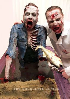Some of the coolest zombie cakes and confections you've ever seen! Halloween Cakes, Halloween Themes, Modeling Chocolate, Chocolate Cake, Artisan Cake Company, Zombie Food, Sci Fi Genre, Vanilla Buttercream, Delicious Chocolate