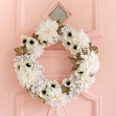 White + gold floral wreath DIY