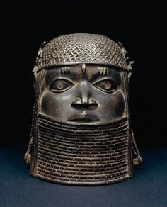 A cast brass head, probably of a king (Oba) and used as an altarpiece decoration. The kingdom of Benin century CE) in West Africa (modern southern Nigeria). From Benin City, century CE. African Artists, African Tribes, Arte Tribal, Tribal Art, African Sculptures, Animal Sculptures, African American Artwork, History Encyclopedia, African Traditions
