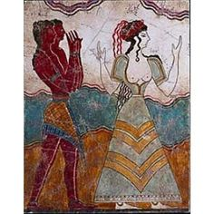 Minoan Cretan Princess Entourage Fresco from Palace of Knossos