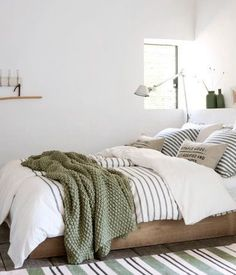 Light Green And White Bedroom. I've Come Over To The Light Side 10 Bedroom With White . Attractive Painting Ideas For Bedrooms Decorating Ideas . Home Design Ideas Bedroom Green, Dream Bedroom, Home Bedroom, Green Bedding, Earthy Bedroom, Casual Bedroom, Budget Bedroom, Modern Bedroom, Loft Bedroom Decor
