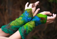 Felted faery gloves
