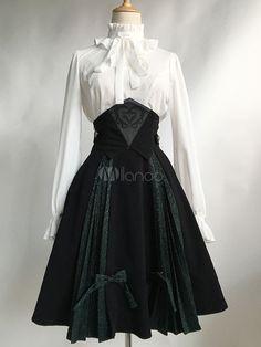 Gothic Lolita Dress SK Black Lolita Dress High Waist Jacquard Pleated Lolita Skirt With Bow & Costumes > Lolita Specials > Lolita Dresses > Lolita Skirts Kawaii Fashion, Lolita Fashion, Gothic Fashion, Victorian Fashion, Punk Fashion, Style Fashion, Witch Fashion, Pretty Outfits, Pretty Dresses