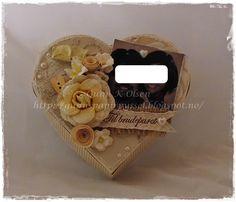 Gunns Papirpyssel, Hjerte eske, wedding box, bryllupseske, Heart box, vintage, scrapping, scrapbooking, paperfolding, papirbretting, kort, card, papir, paper, 3D