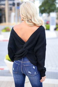 In Perfect Harmony Sweater - Black women's flirty twist back sweater closet candy boutique 1 Fall Fashion Outfits, Women's Fashion Dresses, Autumn Fashion, Fashion Shirts, Fashion Clothes, Fashion Boots, Fashion Accessories, Curvy Women Fashion, Womens Fashion
