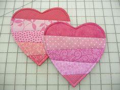 Heart Mug Rugs  - Coasters - Set of Two