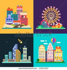 Different urban landscapes: colored houses by the sea, amusement park, night skyscrapers, historic city center. Vector flat illustrations