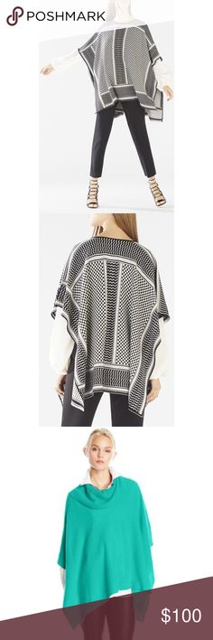 """✨BCBGMaxazria Green/Cream Knit Poncho✨ ✨Size small measures approximately 26.5"""" from shoulder to hem. Color: Green/Cream lines.  Relaxed fit. Fits true to size.✨ BCBGMaxAzria Sweaters Shrugs & Ponchos"""