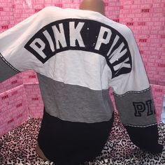 Vs PINK Bling varsity crew shirt color block MED This is. With tags . Size medium but runs bigger . MUST HAVE !! PINK Victoria's Secret Sweaters Crew & Scoop Necks
