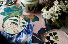 Goods. x Elizabeth Barnett handpainted ceramics and screen printed table linen. Photo – Eve Wilson for The Design Files.